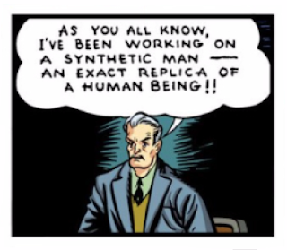 Marvel Comics (1939) #1 Page 1 Panel 3: Scientist Horton brags that he has created a synthetic man.