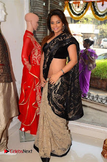 Actress Neetu Chandra Stills in Black Saree at Designer Sandhya Singh's Store Launch  0049.jpg