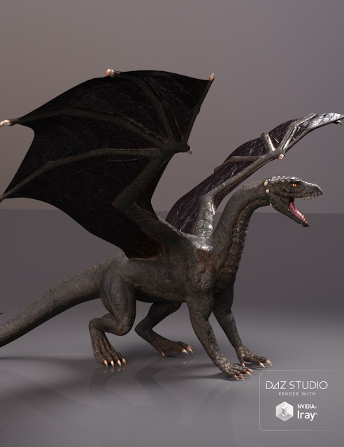 PBReal Iray Black Dragon for Daz Dragon 3