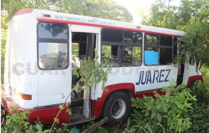 Microbús termina entre la maleza por falla mecánica