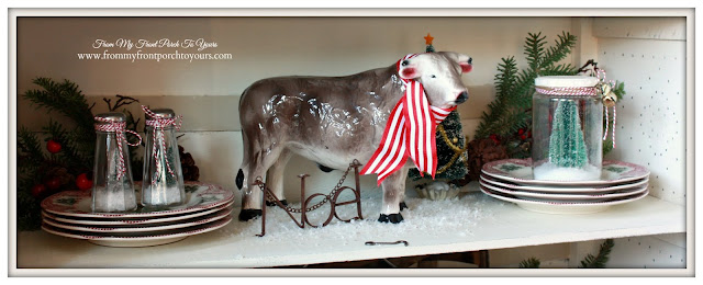 Farmhouse Christmas Kitchen-Christmas Vignette-Vintage Cow Bank-From My Front Porch To Yours