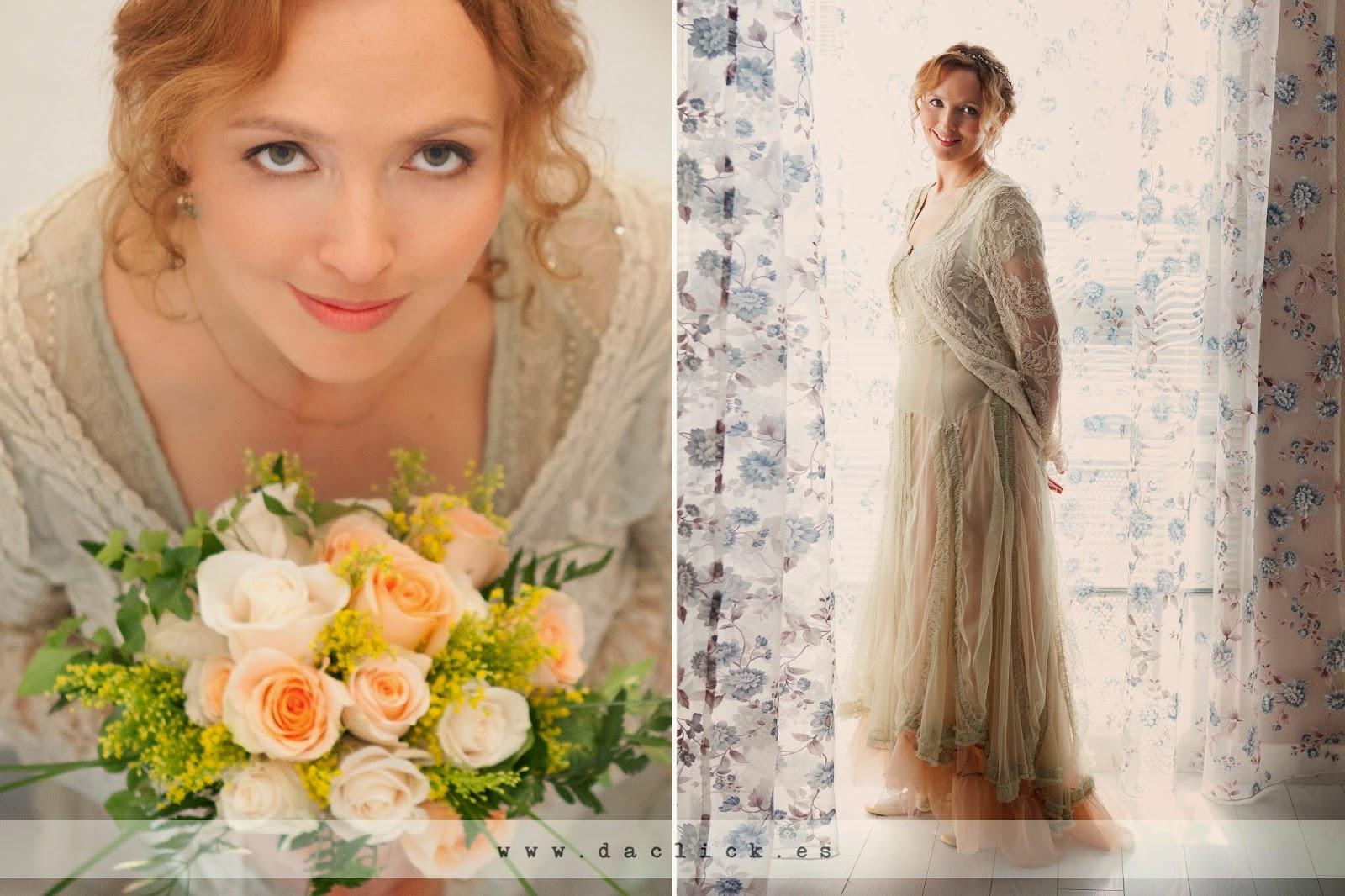 vestido de novia romántico y vintage con ramo de flores mimosa