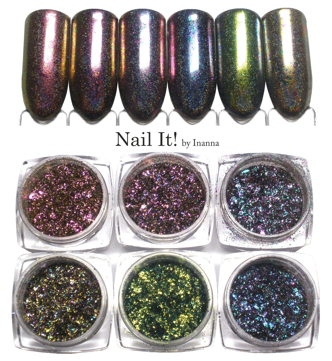 Holographic Chameleon Flakes from BeautyBigBang - swatches of all 6 powders!