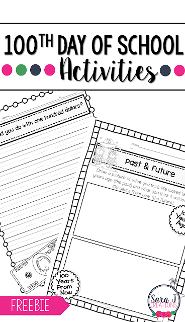 Free 100th day of School activity pages, perfect for celebrating the hundredth day of school and getting in some #writing and #socialstudies. #sarajcreations #100sday