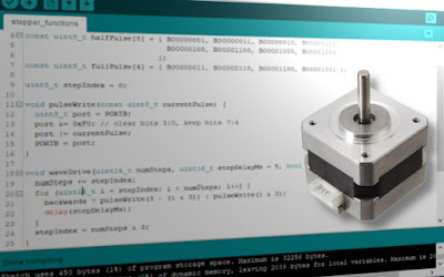 Drive stepper motors with Arduino (code)