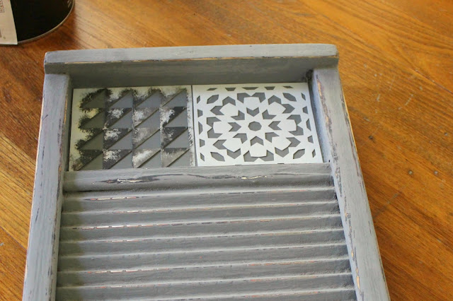 Photo of stenciling on a washboard