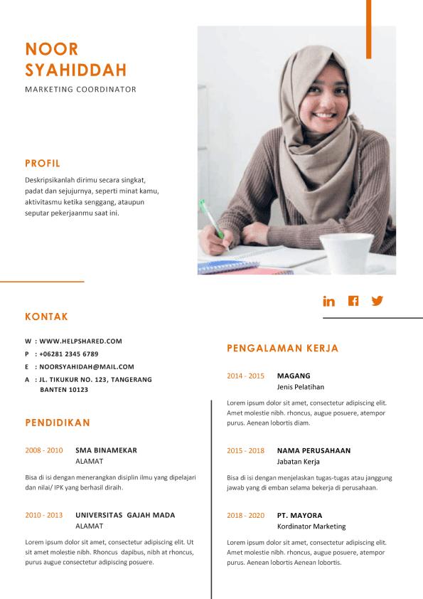 Contoh CV Lamaran Kerja Casual 3 Curriculum Vitae