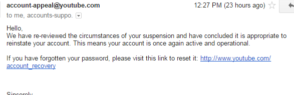 How to activate suspend or terminated youtube channel