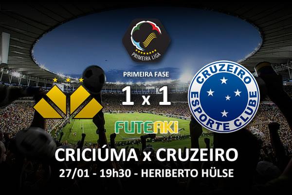 O placar de Criciúma 1x1 Cruzeiro pela 1ª rodada da Copa Sul-Minas-Rio 2016.