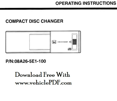 Honda CD Compact Disc changer user information manual