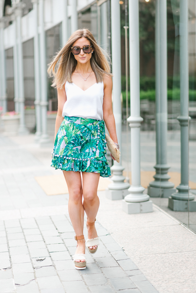 revolve lovers + friends lilac palm alicia skirt