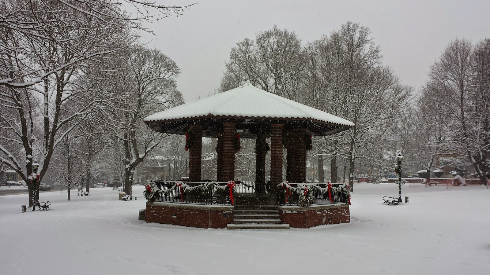 the band stand on the Town Common during the snow
