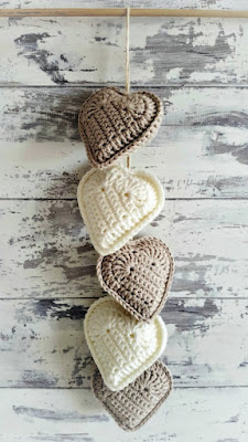 Rustic Crochet Hanging Hearts, shared by Leasowes View at The Chicken Chick's Clever Chicks Blog Hop