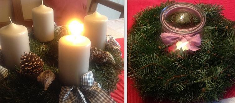Das erste Lichtleinbrennt am Adventskranz