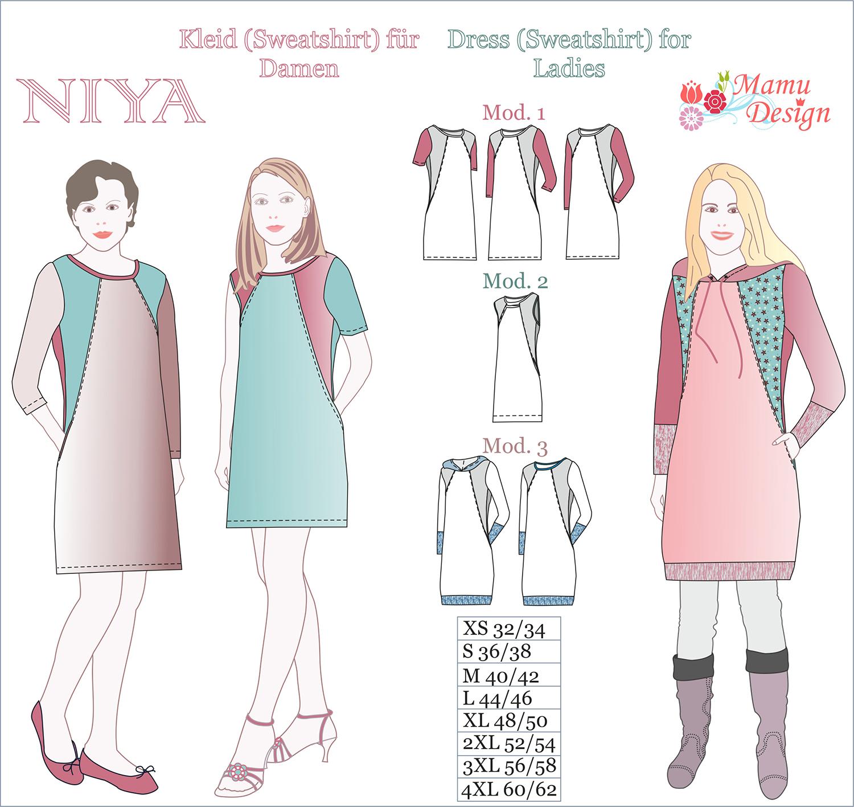 KleidSweatshirt Und Nähanleitung Schnittmuster Mamu DesignNiya mwOv8n0yN