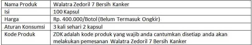Cara Membeli Walatra Zedoril 7 Bersih Kanker
