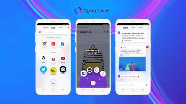 Opera Touch este un nou browser web pentru Android, care poate bloca reclamele și are protecție pentru minare criptomonedă