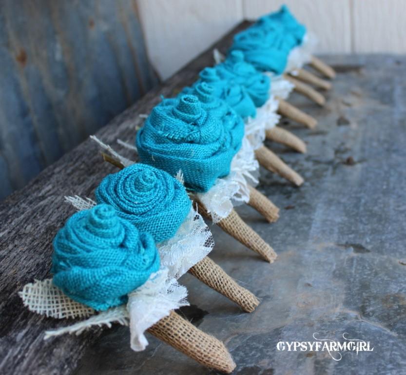 Burlap Wedding: GypsyFarmGirl: Turquoise Burlap And Lace Wedding Bouquets