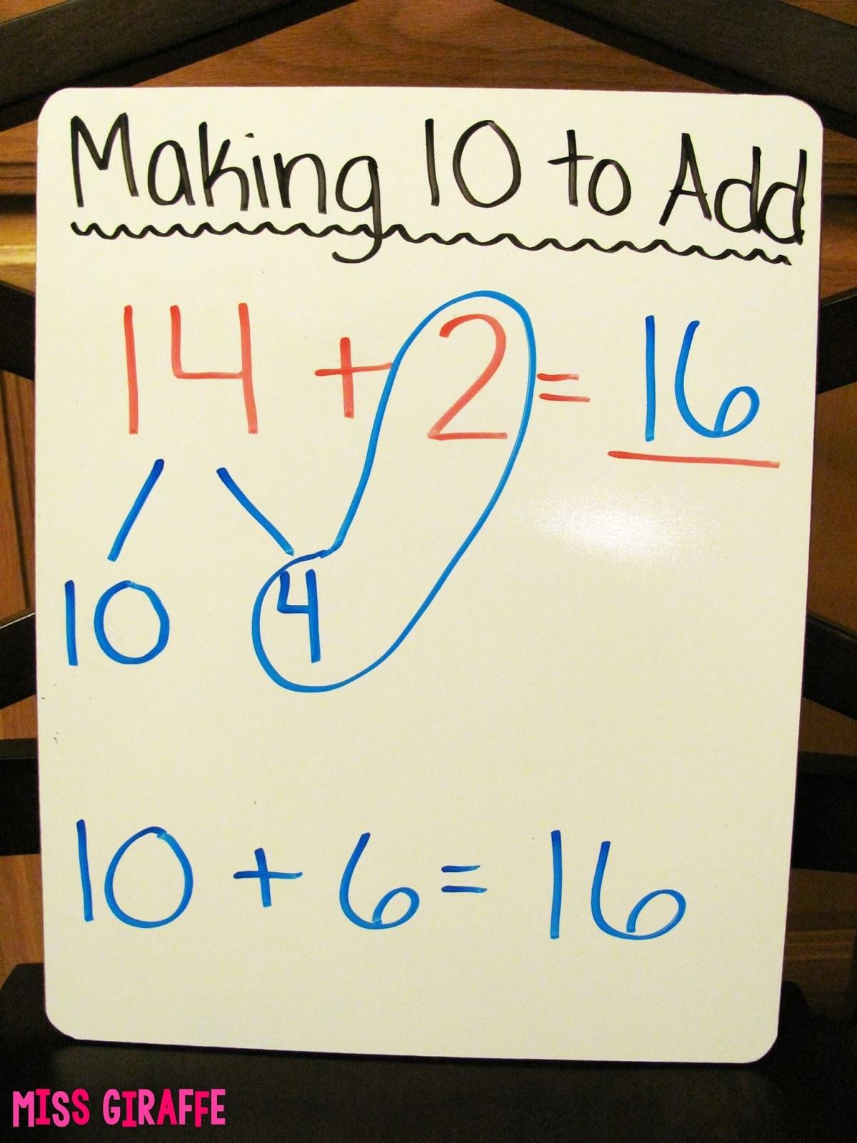 Miss Giraffe\'s Class: Making a 10 to Add
