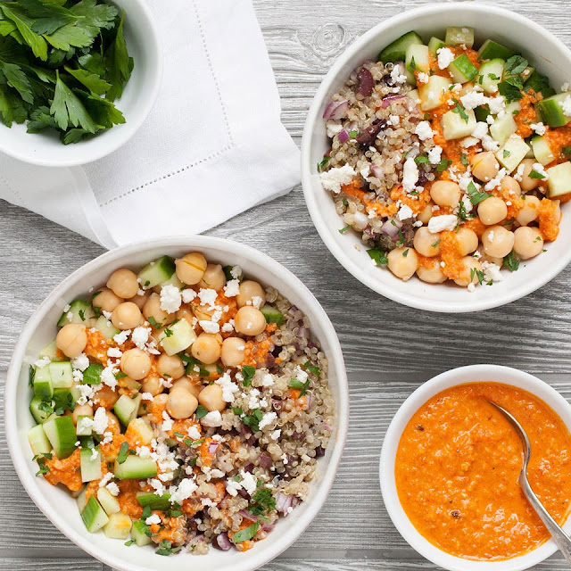 Quinoa and chickpeas pack this vegetarian grain bowl with plenty of plant Mediterranean Chickpea Quinoa Bowl Recipe