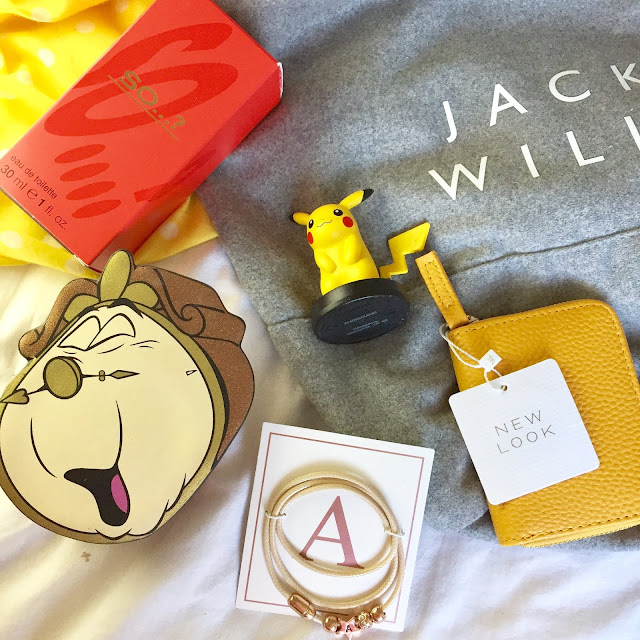 flatlay - perfume, bracelet, purse, bag, disney, jack wills, new look