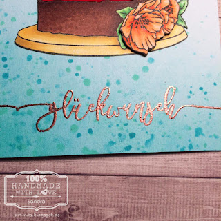 Birthdaycard with Concord & 9th Happy Day Cake Stamp, colored in with Copics and Klartext sentiment with WOW copper embossing powder