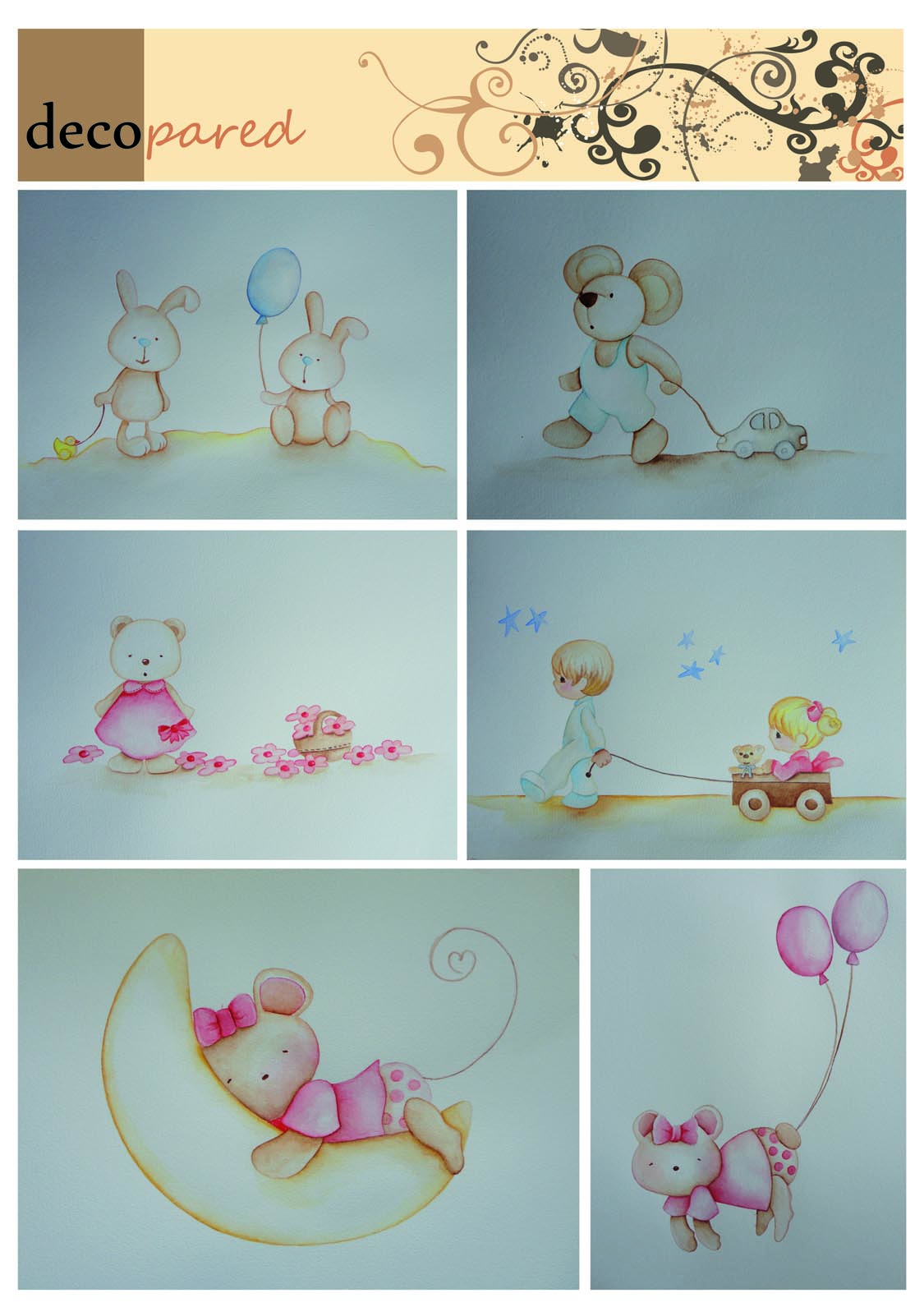 Decopared murales infantiles de ositos y conejitos - Murales infantiles pintados a mano ...