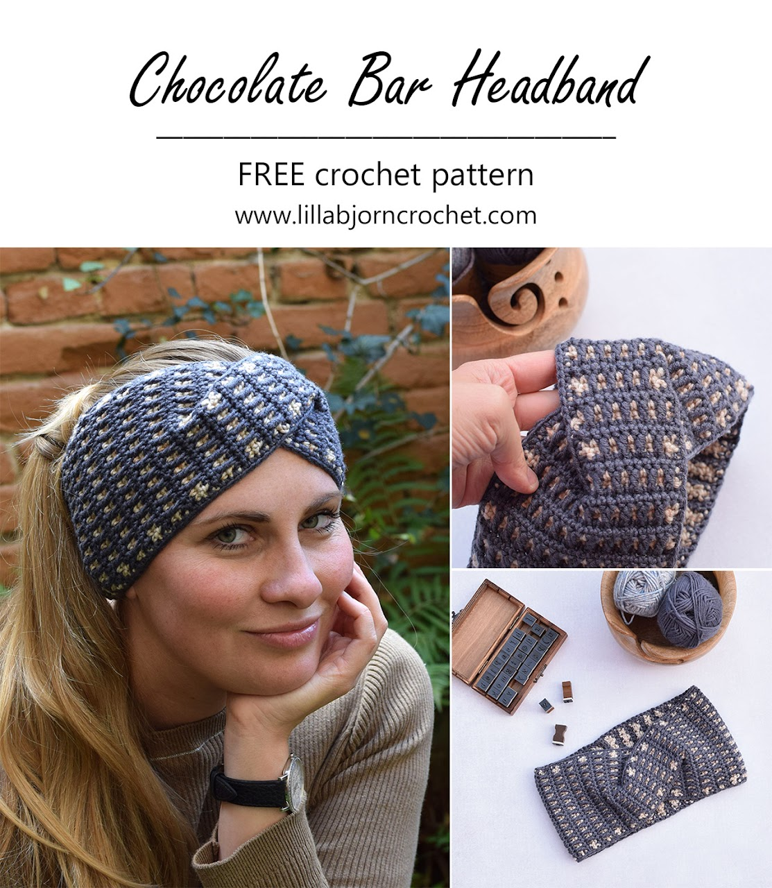 Chocolate Bar Headband_free crochet pattern by www.lillabjorncrochet.com
