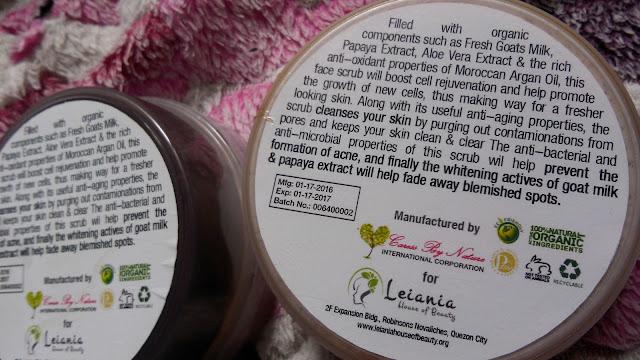 leiania scrub, lhob scrub, organic scrub philippines,