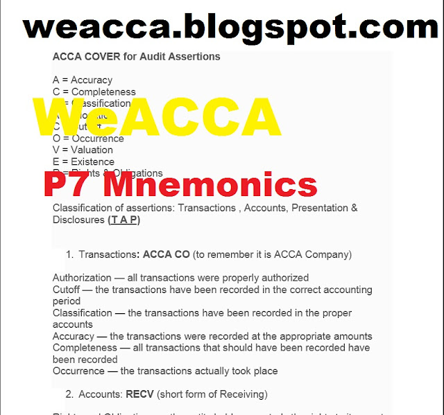 ACCA P7 Advanced Audit & Assurance Mnemonics, acca p7 acronyms