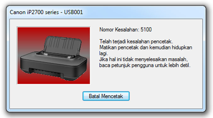 Cara Memperbaiki Printer Canon iP 2770 Error 5100