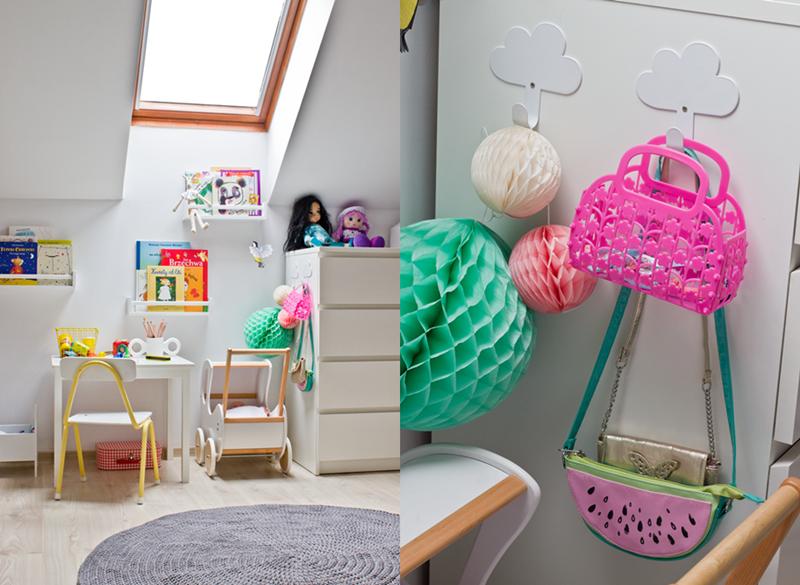 mały pokój dla dziecka, pokój na poddaszu, skosy, okna dachowe, dziergany dywan, dywan na szydełku, krzesło retro, szkolne krzesło, drewniany wózek dla lalki, białe meble, książki dla dzieci, komoda malm, ikea