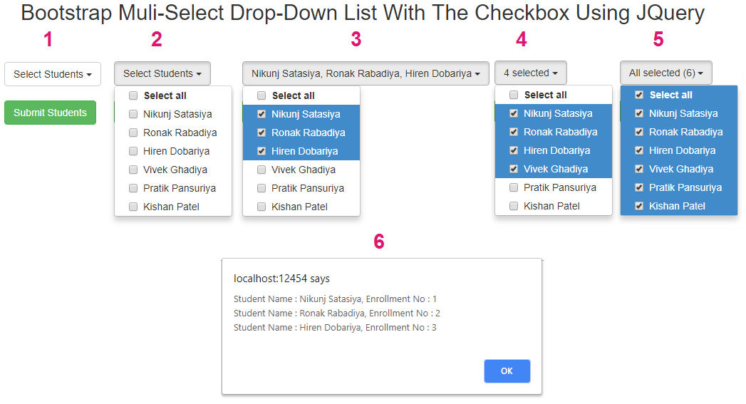 Bootstrap JQuery Multiselect Dropdown List With Checkbox