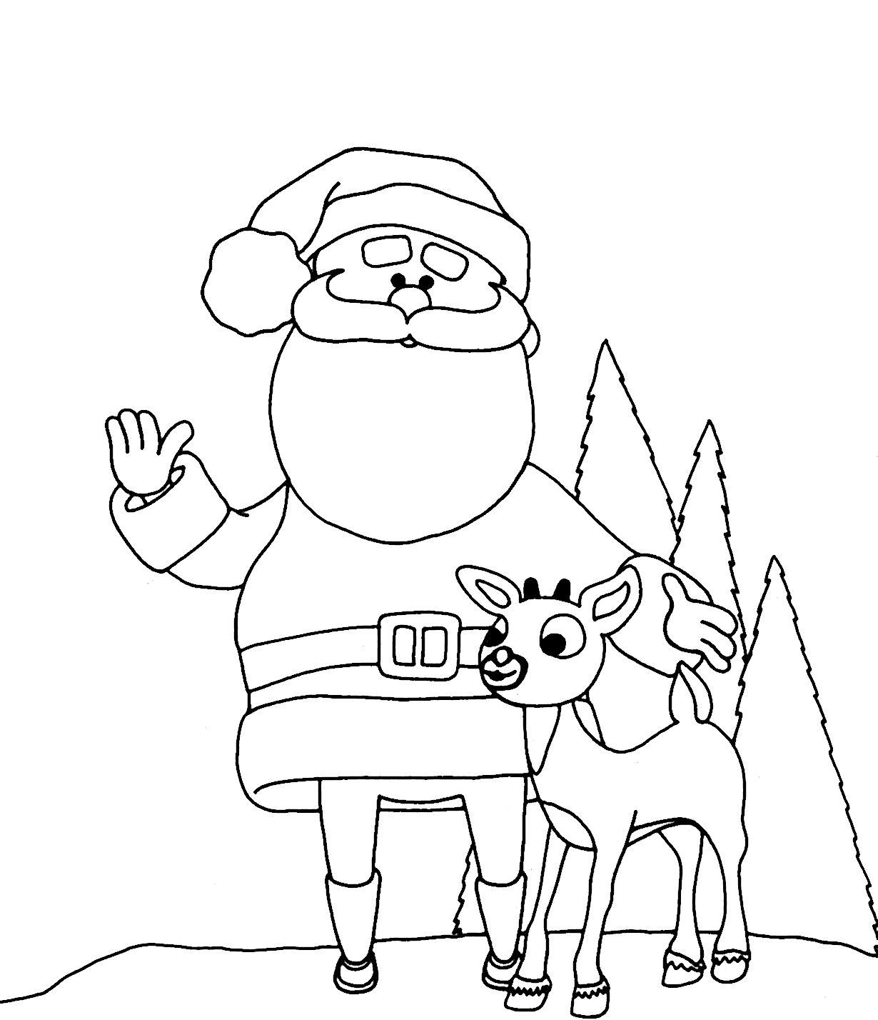 Rudolph Santa Colouring Pages Coloring Page