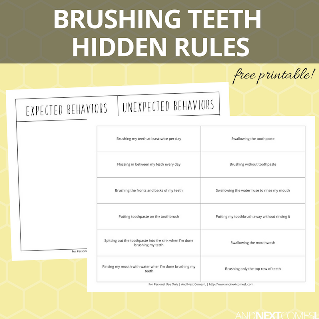 Free hidden rules printables for kids