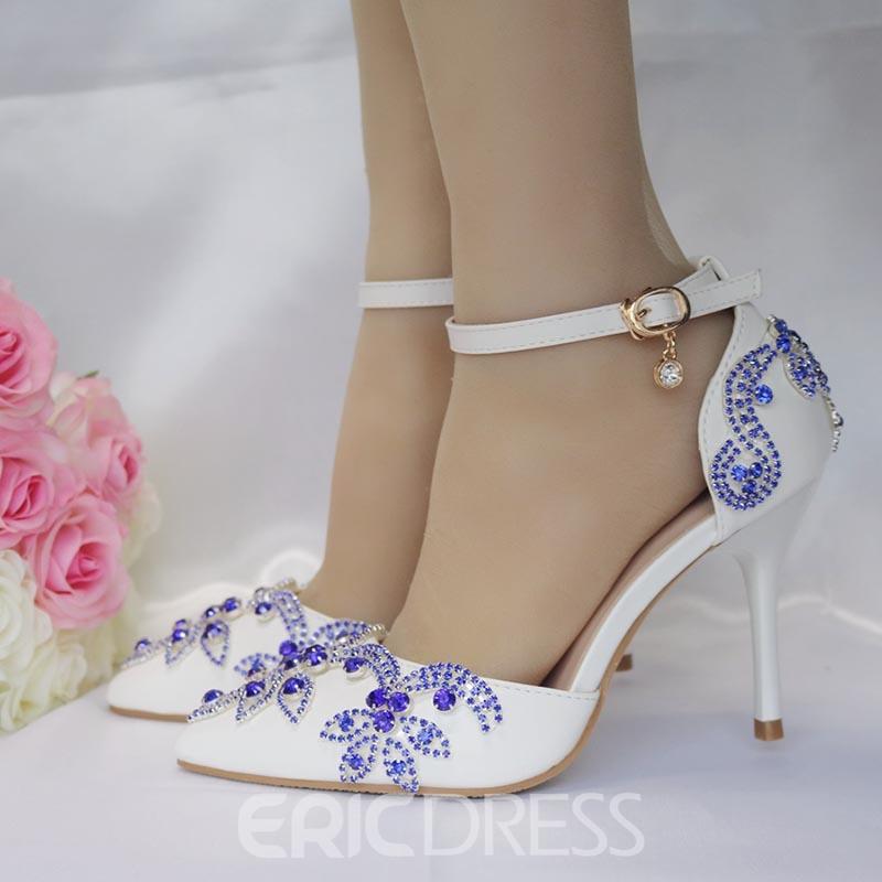 60555a3313e4b Ericdress Rhinestone Line-Style Buckle Stiletto Heel Wedding Shoes.  Ericdress White PU Peep Toe ...