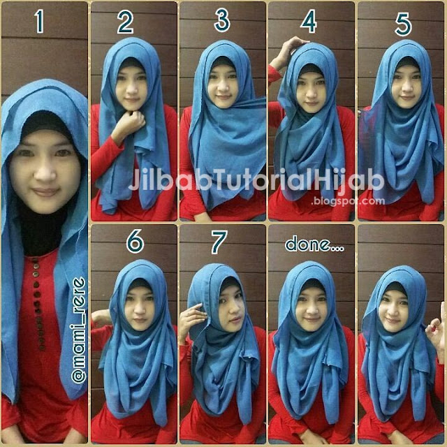 tutorial hijab segi empat untuk wajah bulat modern terbaru