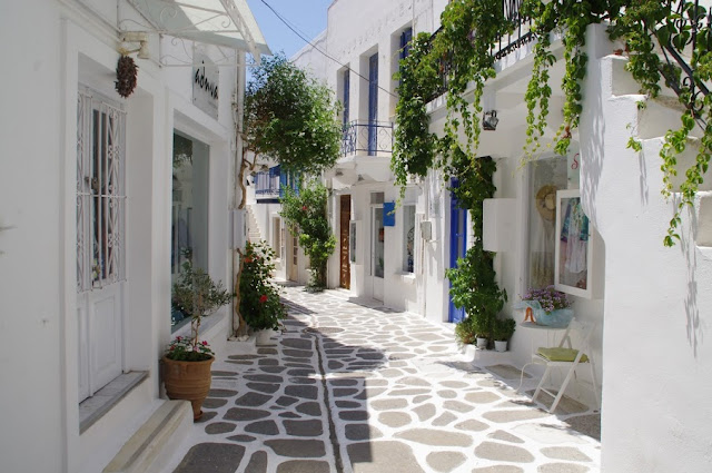 Streets of Parikia Paros Greek islands