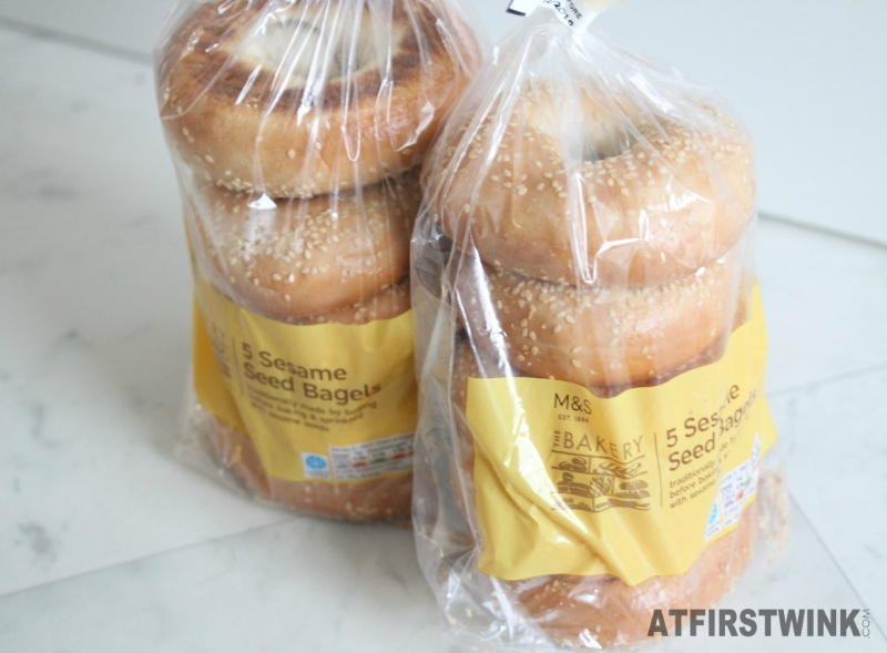 bags of Marks & Spencer sesame seed bagels