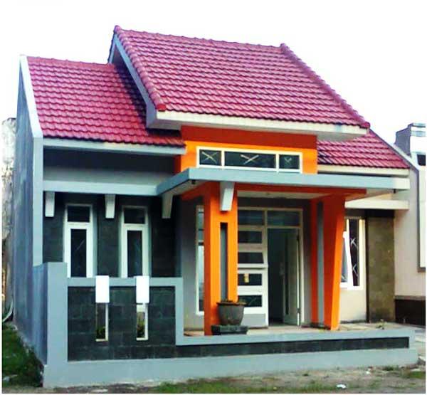 cat rumah minimalis warna orange tampak depan