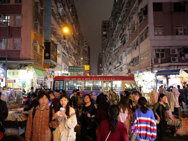 Public Light Bus and crowd in Mong Kok