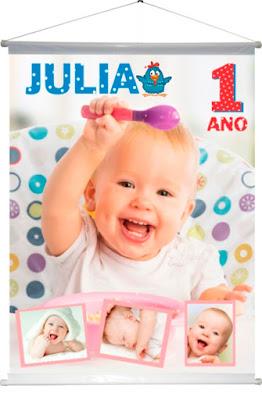 lona banner de aniversario de um ano da juliana