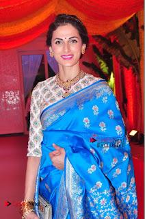 Actress Model Shilpa Reddy Exclusive Stills in Blue Saree at Vijay Karan Aashna Wedding  0017.JPG