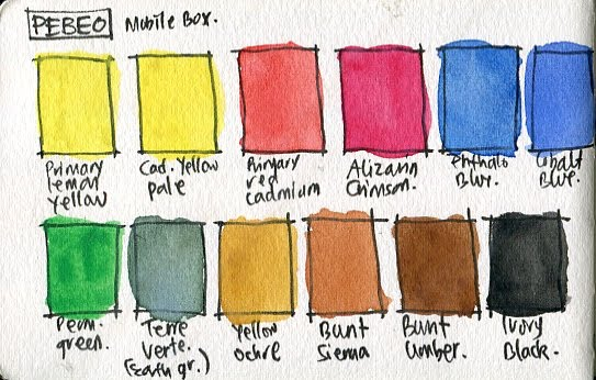 Pebeo 12 Hues Half Pan watercolor box set