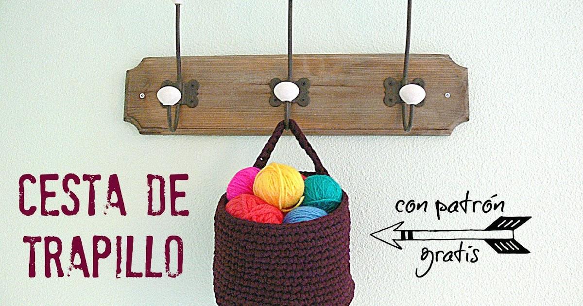 tendencias Crochet cesta de trapillo con patrón gratis