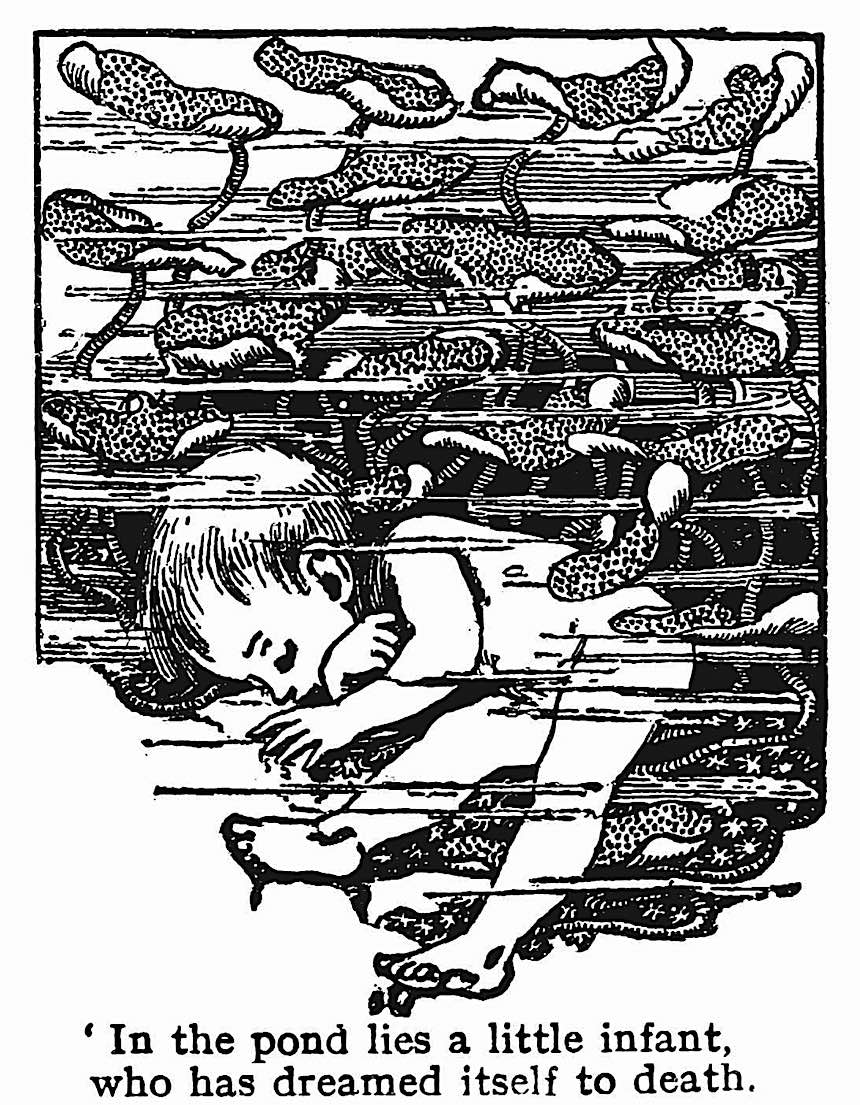 Ellen Stratton children's book illustration, dead baby