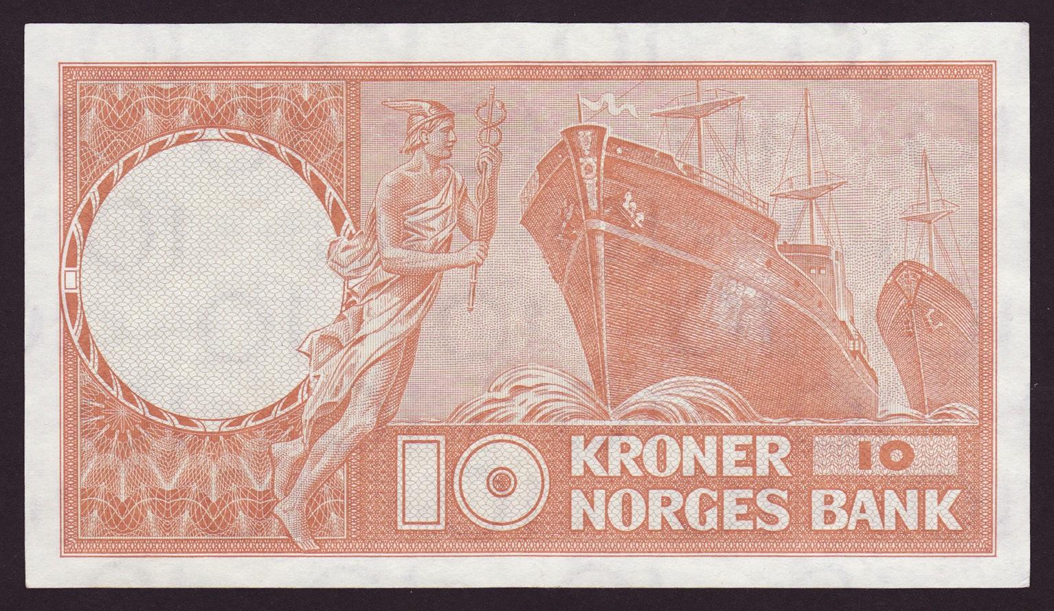 Norway 10 Kroner banknote 1967