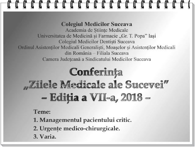 program Zilele Medicale ale Sucevei mai 2018