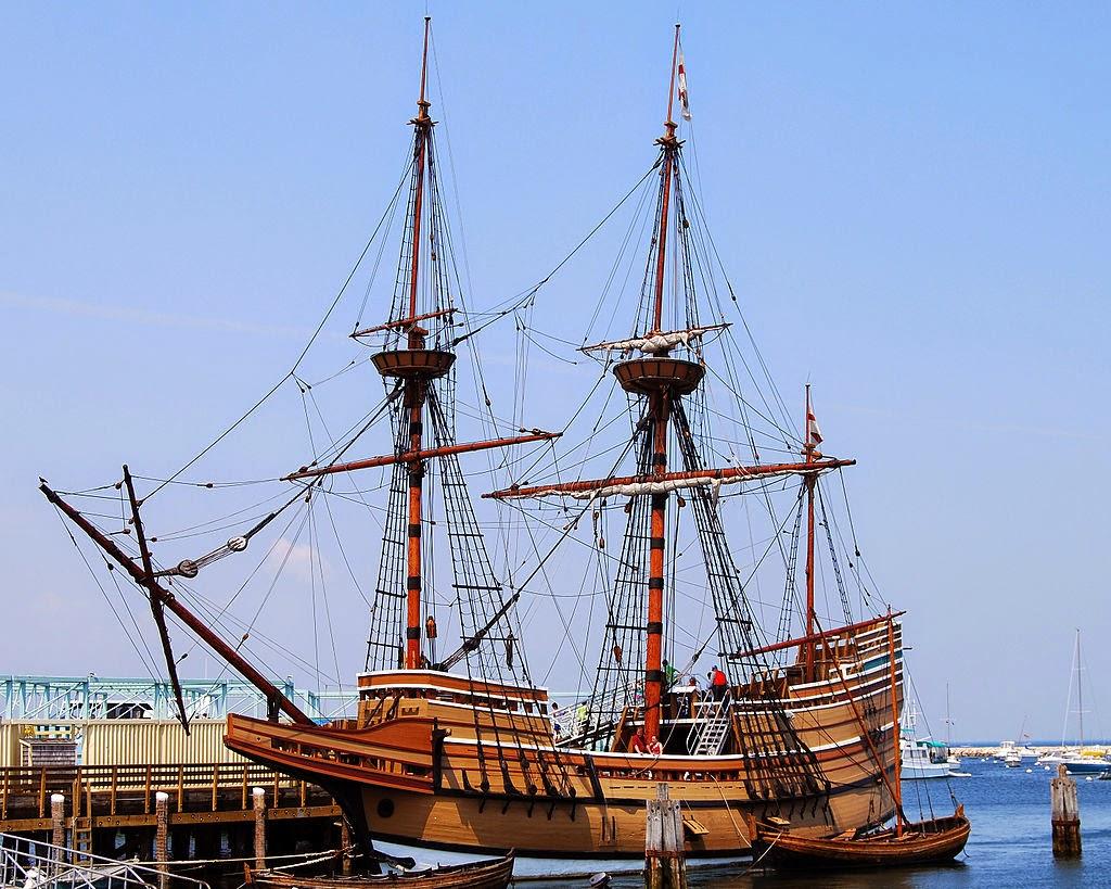 Mayflower II, una réplica del Mayflower, en Plymouth, Massachusetts, EE.UU.