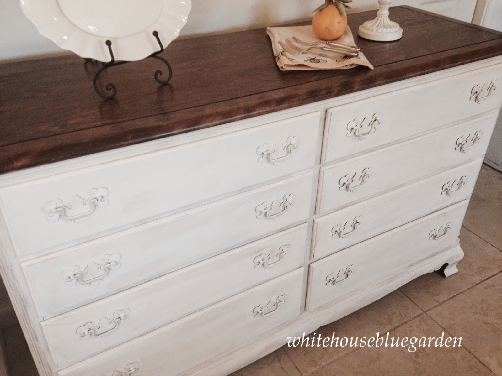 Ascp Old White With Stained Walnut Top